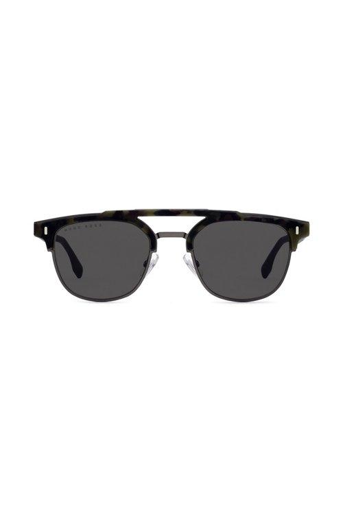 Hugo Boss - Gummierte Sonnenbrille mit Havanna-Muster und Nieten an den Scharnieren - 3