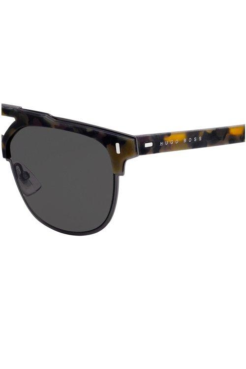 Hugo Boss - Gummierte Sonnenbrille mit Havanna-Muster und Nieten an den Scharnieren - 2