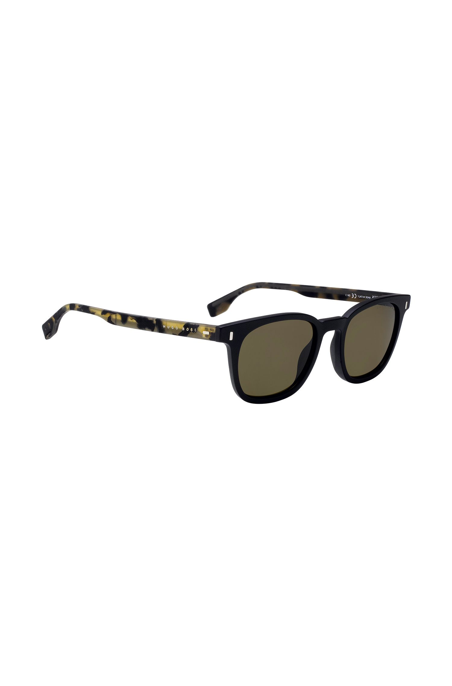 Sunglasses with rubber Havana temples, Patterned