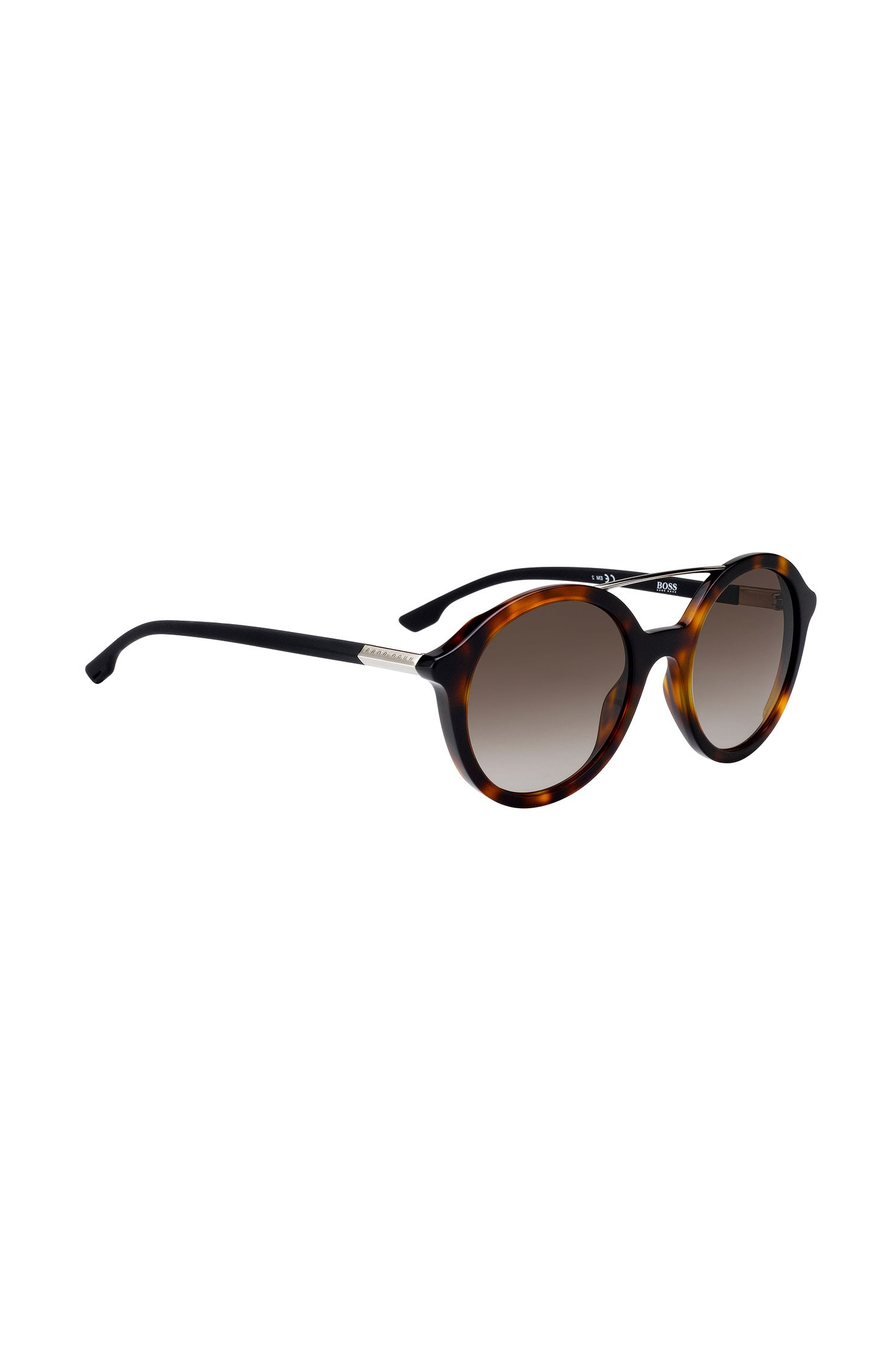 Double-bridge sunglasses with Havana-pattern frames