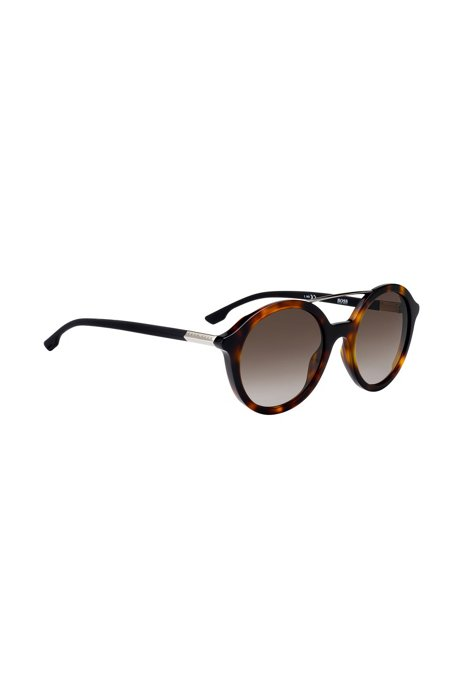 Double-bridge sunglasses with Havana-pattern frames, Patterned