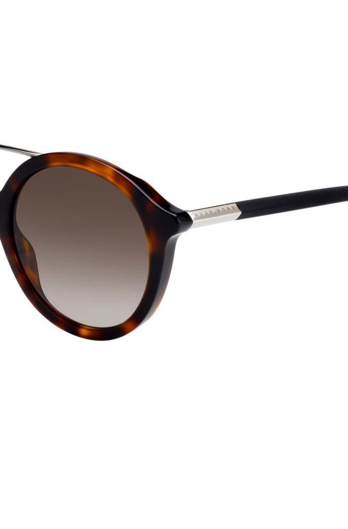 Double-bridge sunglasses with Havana-pattern frames