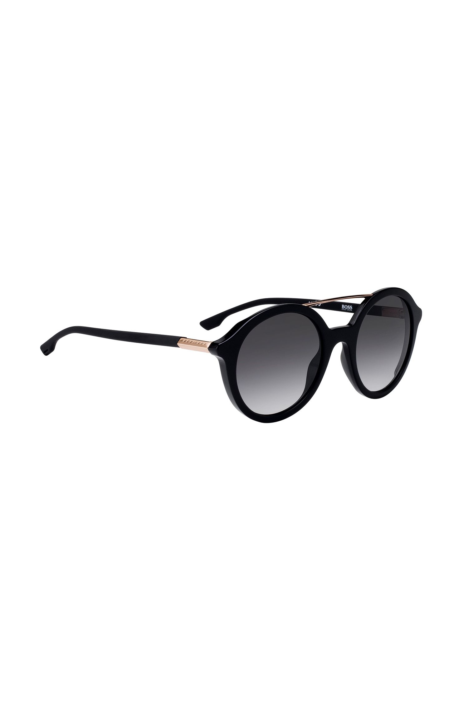 Acetate-frame sunglasses with double bridge, Black