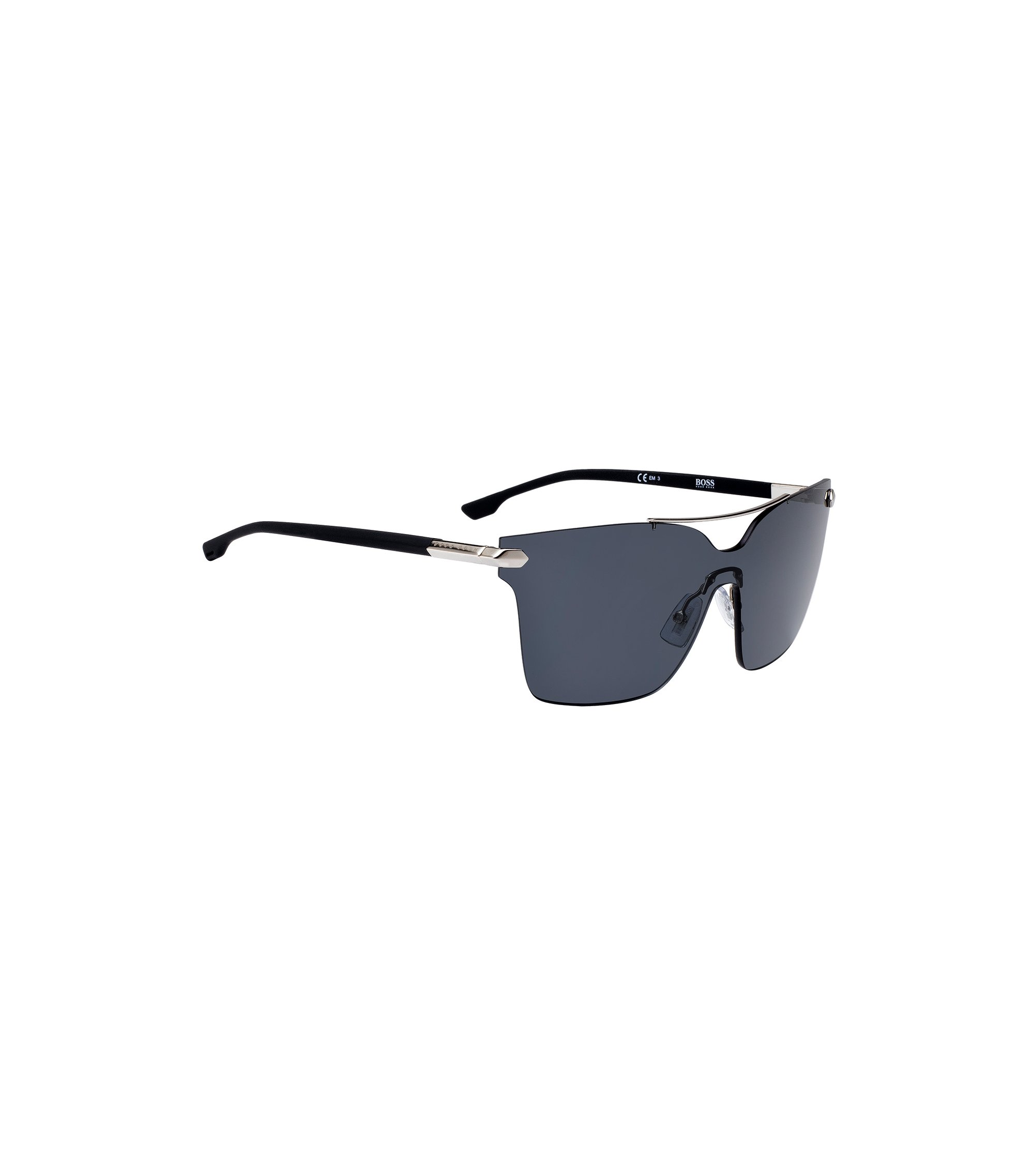 Shield sunglasses with cufflink detail, Black