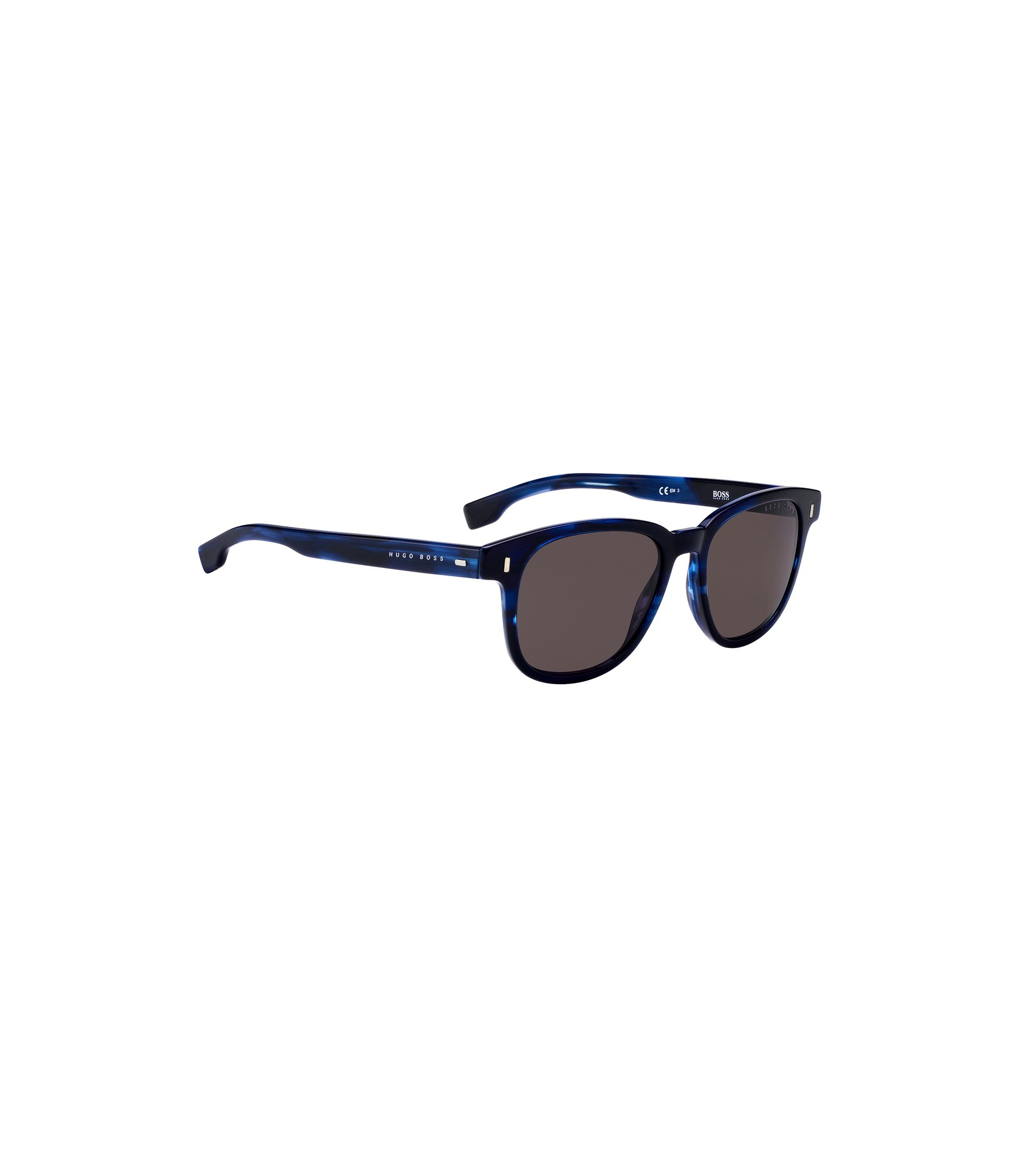 Occhiali da sole blu in acetato con motivo Avana, Assorted-Pre-Pack