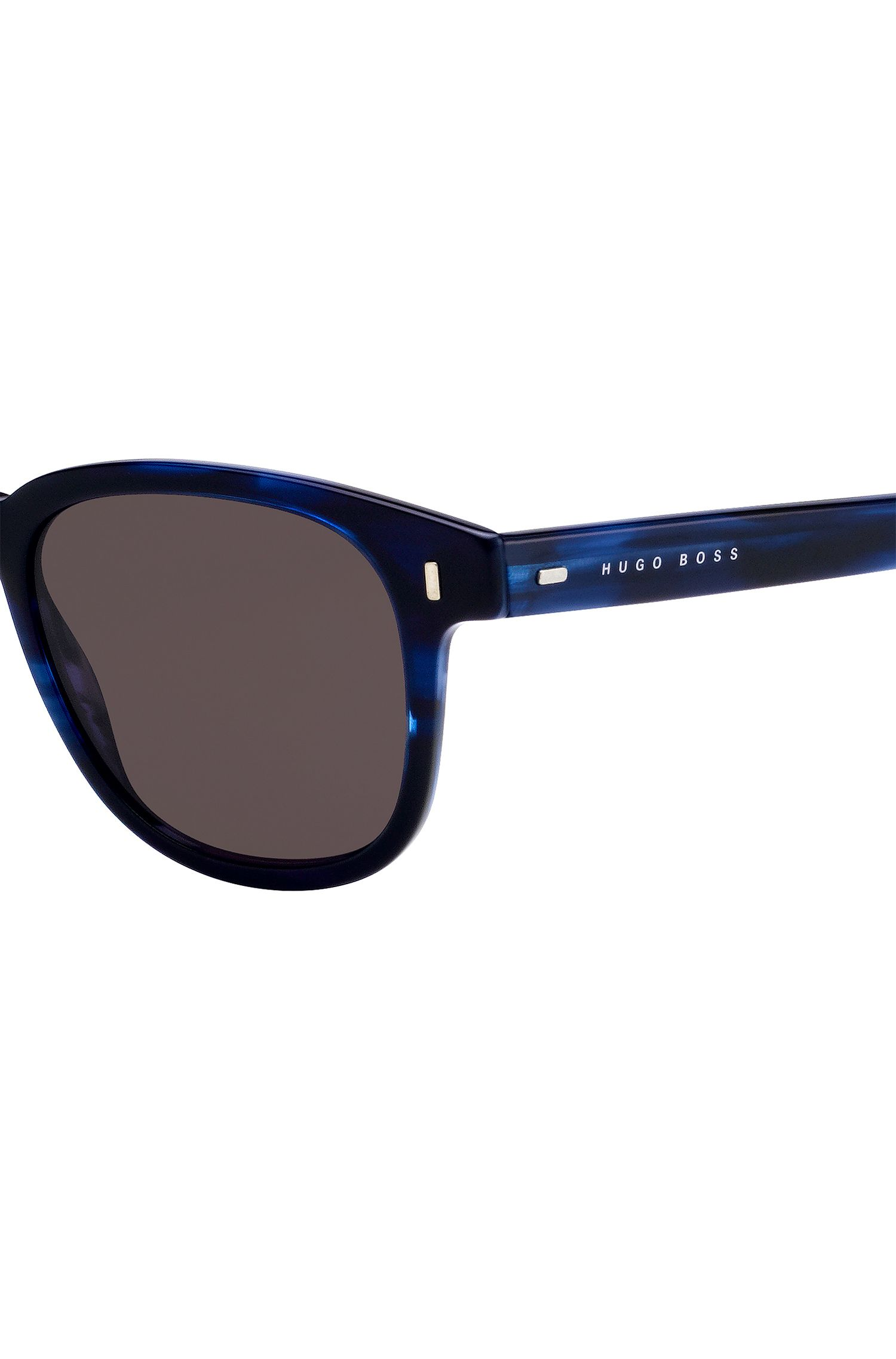 Sunglasses in blue-tinted Havana-pattern acetate, Blue