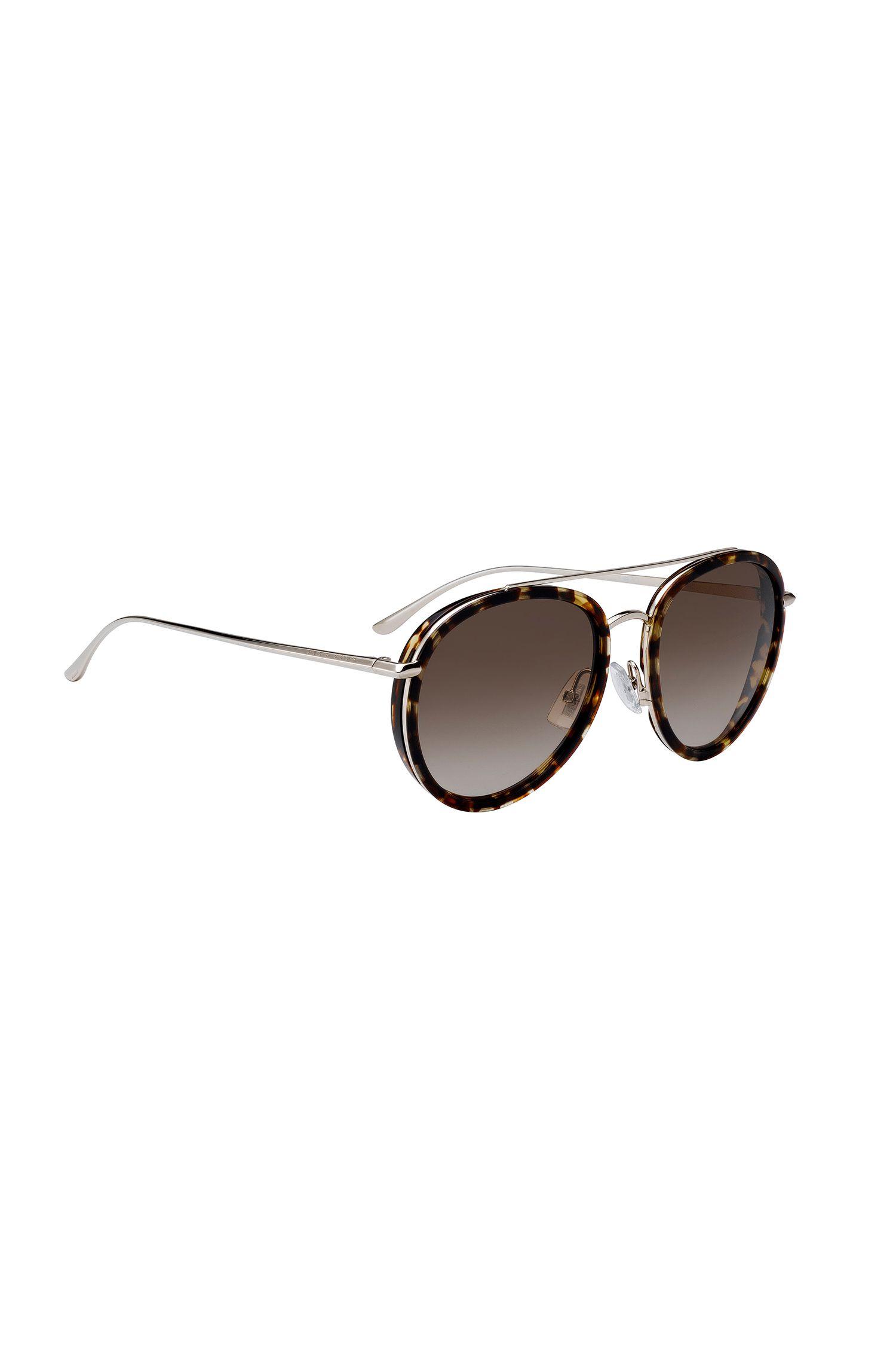 Sonnenbrille aus Acetat mit Doppelsteg und Havanna-Muster