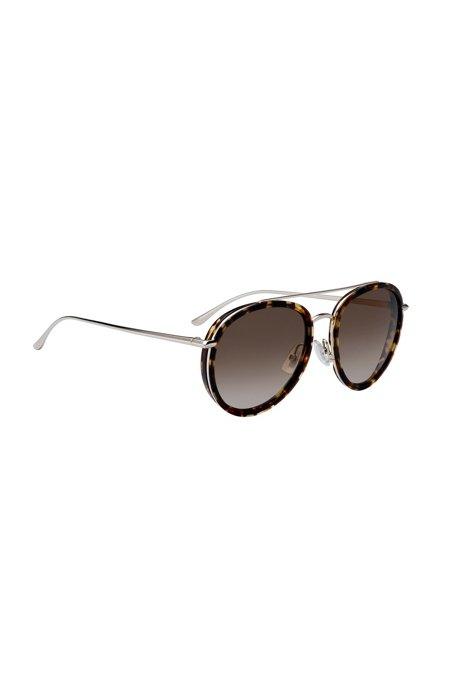 Double-bridge sunglasses in Havana-pattern acetate, Patterned