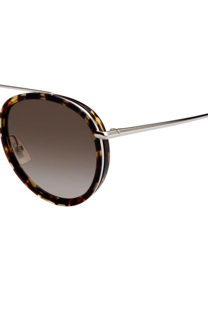 Double-bridge sunglasses in Havana-pattern acetate