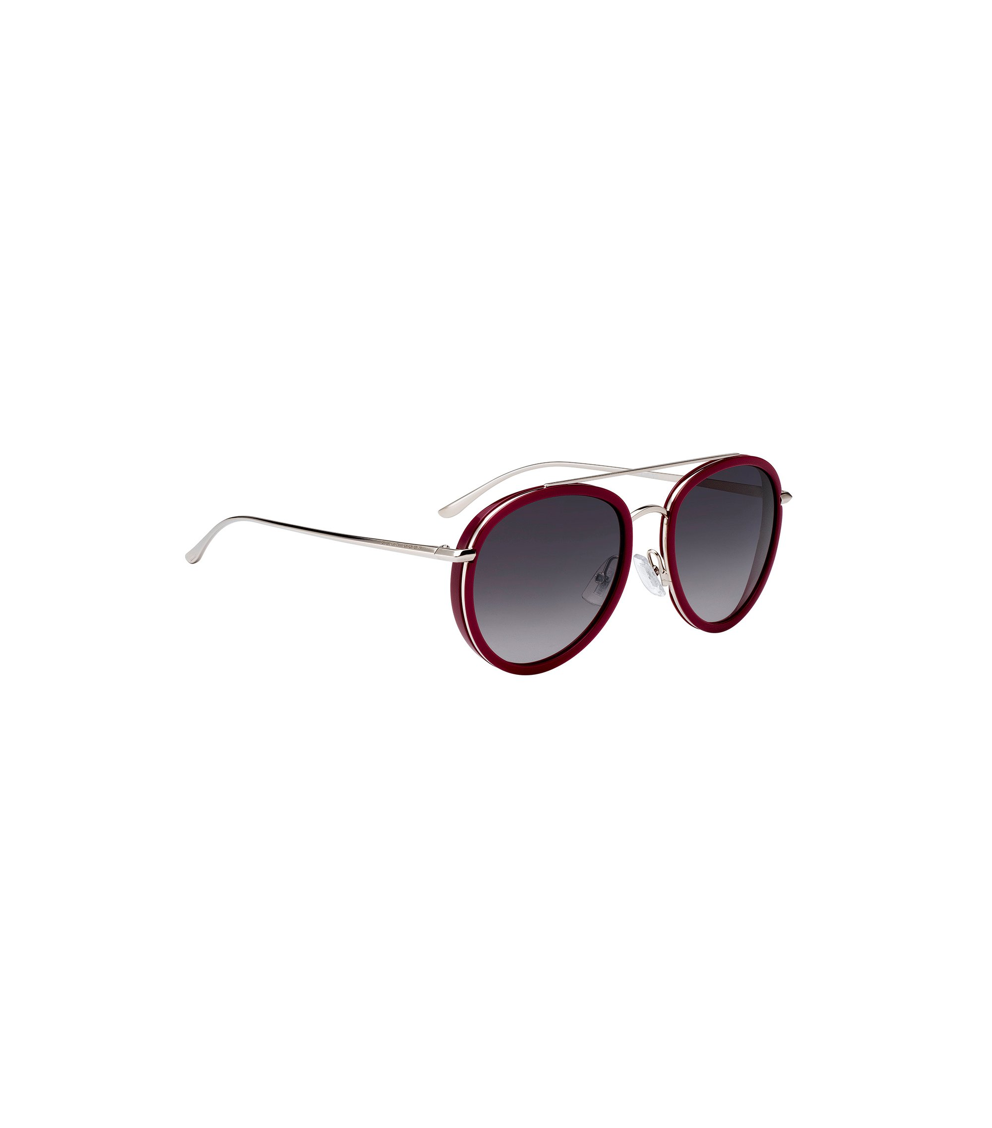 Double-bridge sunglasses in berry acetate, Dark Red