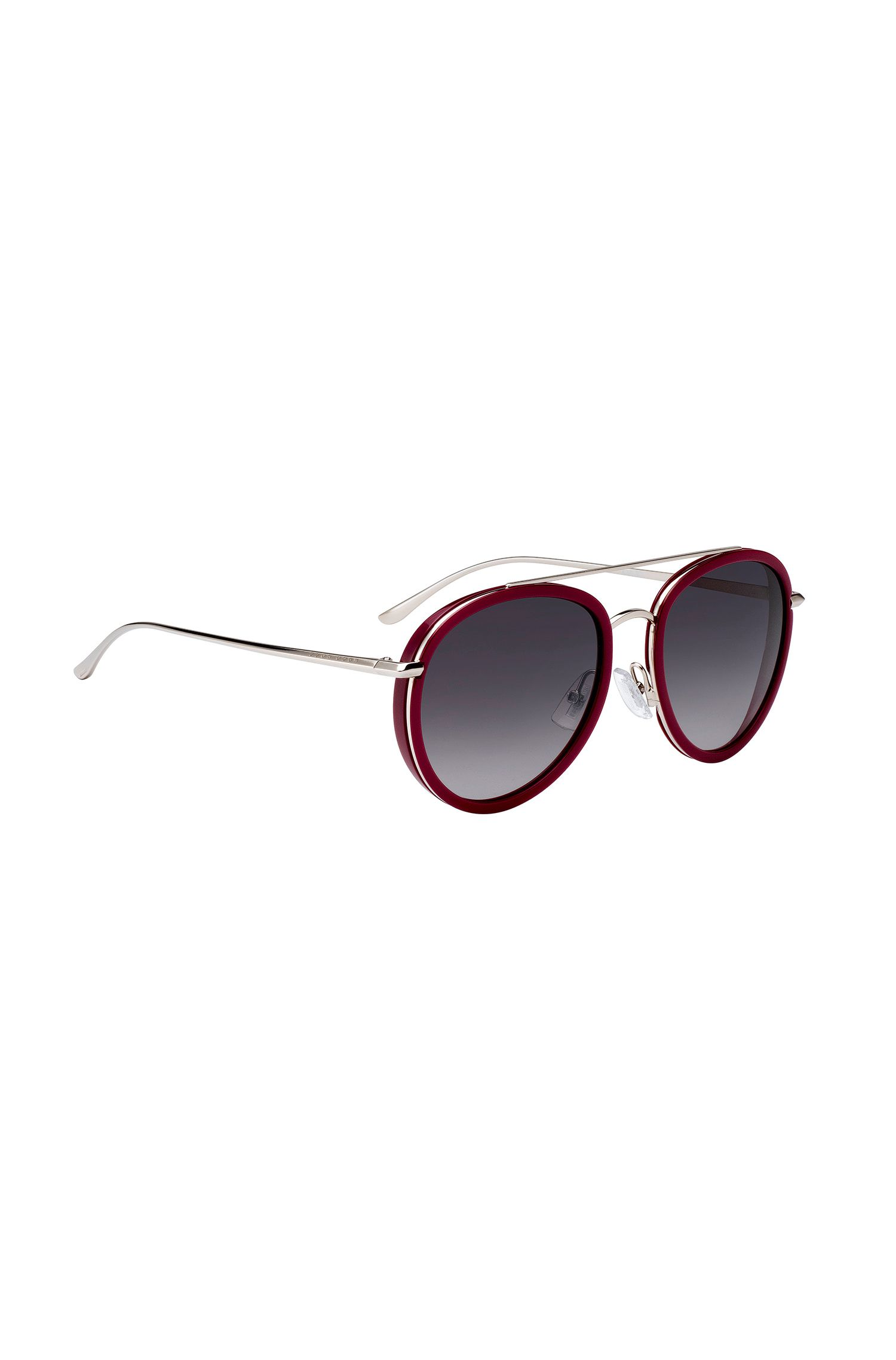 Double-bridge sunglasses in berry acetate