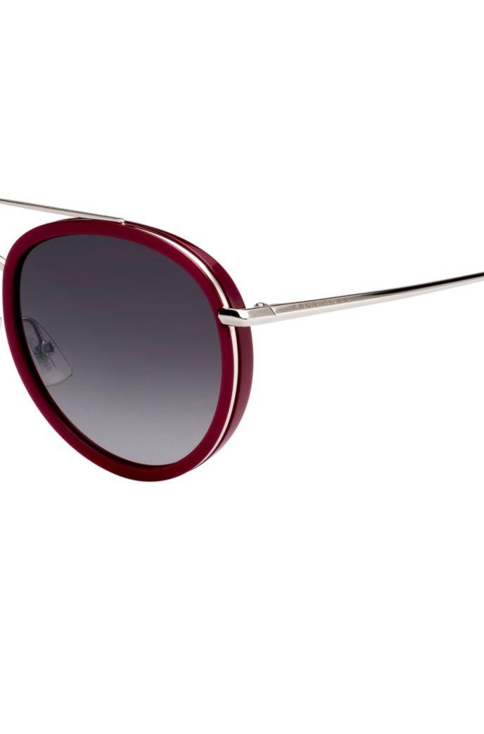 Double-bridge sunglasses in berry acetate