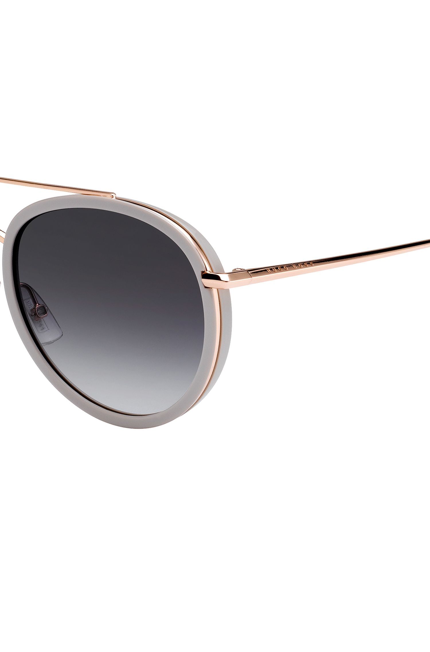 Double-bridge sunglasses with shaded lenses