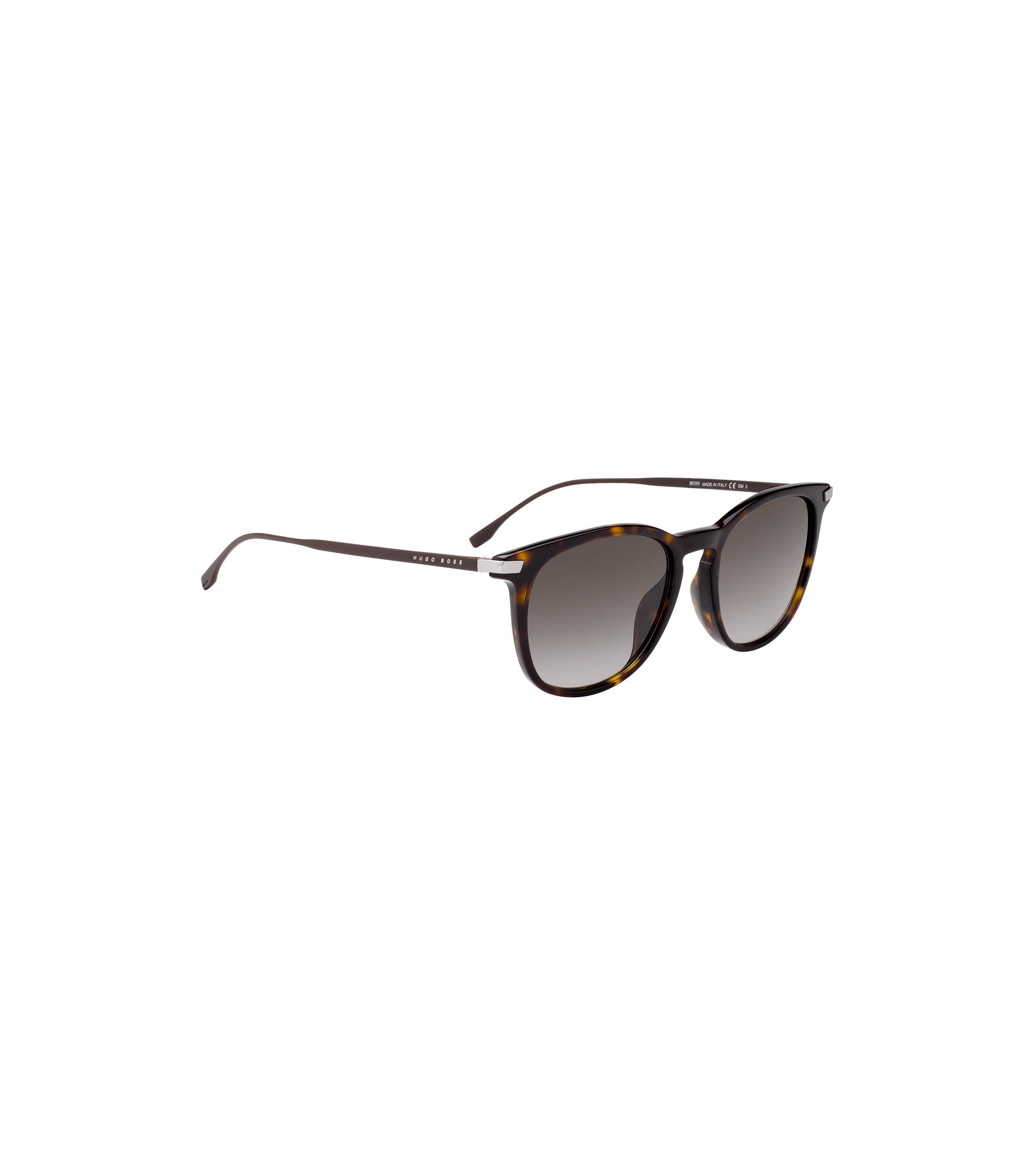Havana-pattern sunglasses with metallic temples, Dark Brown