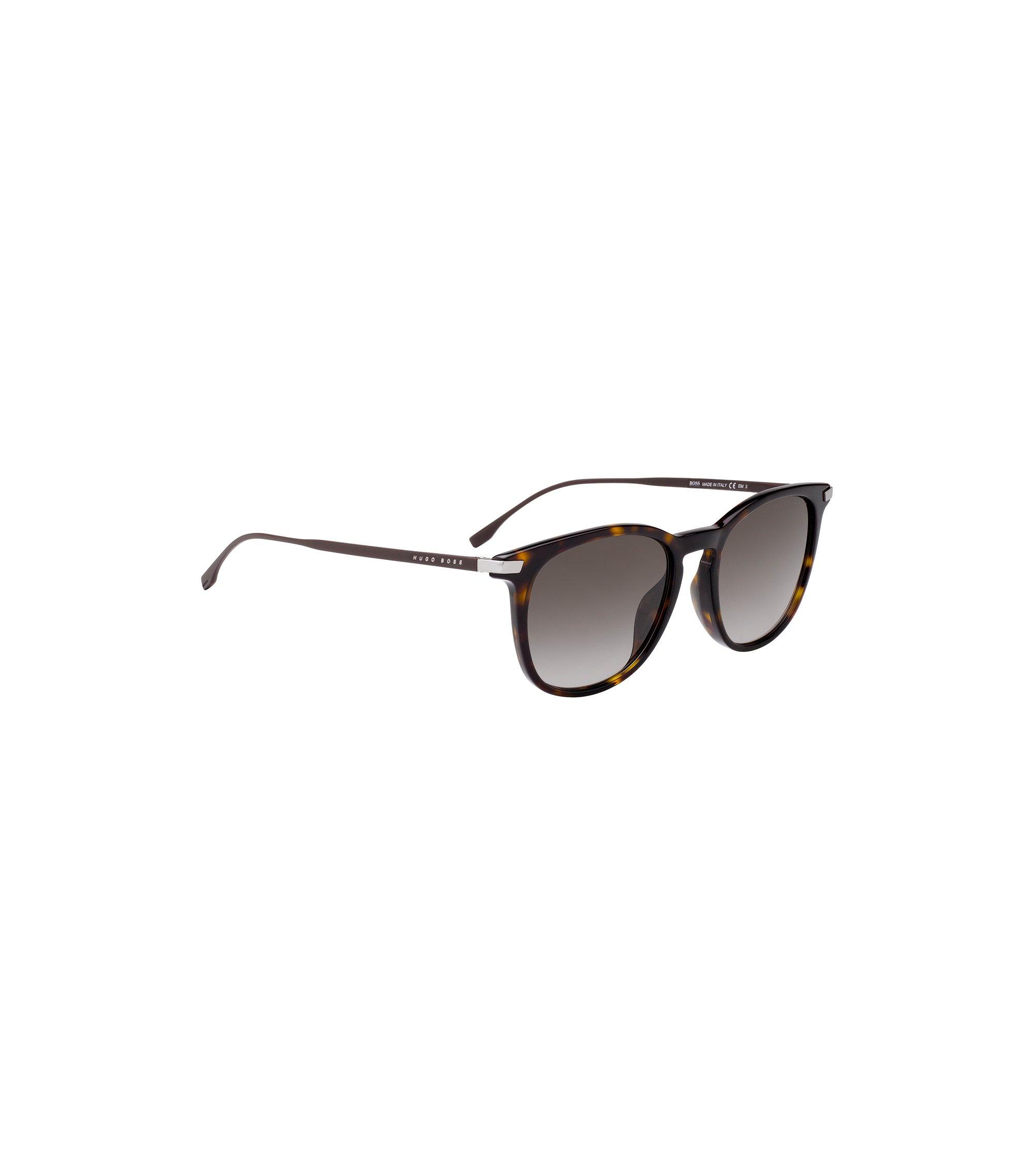 Zonnebril met havana-montuur en metallic brilveren, Donkerbruin