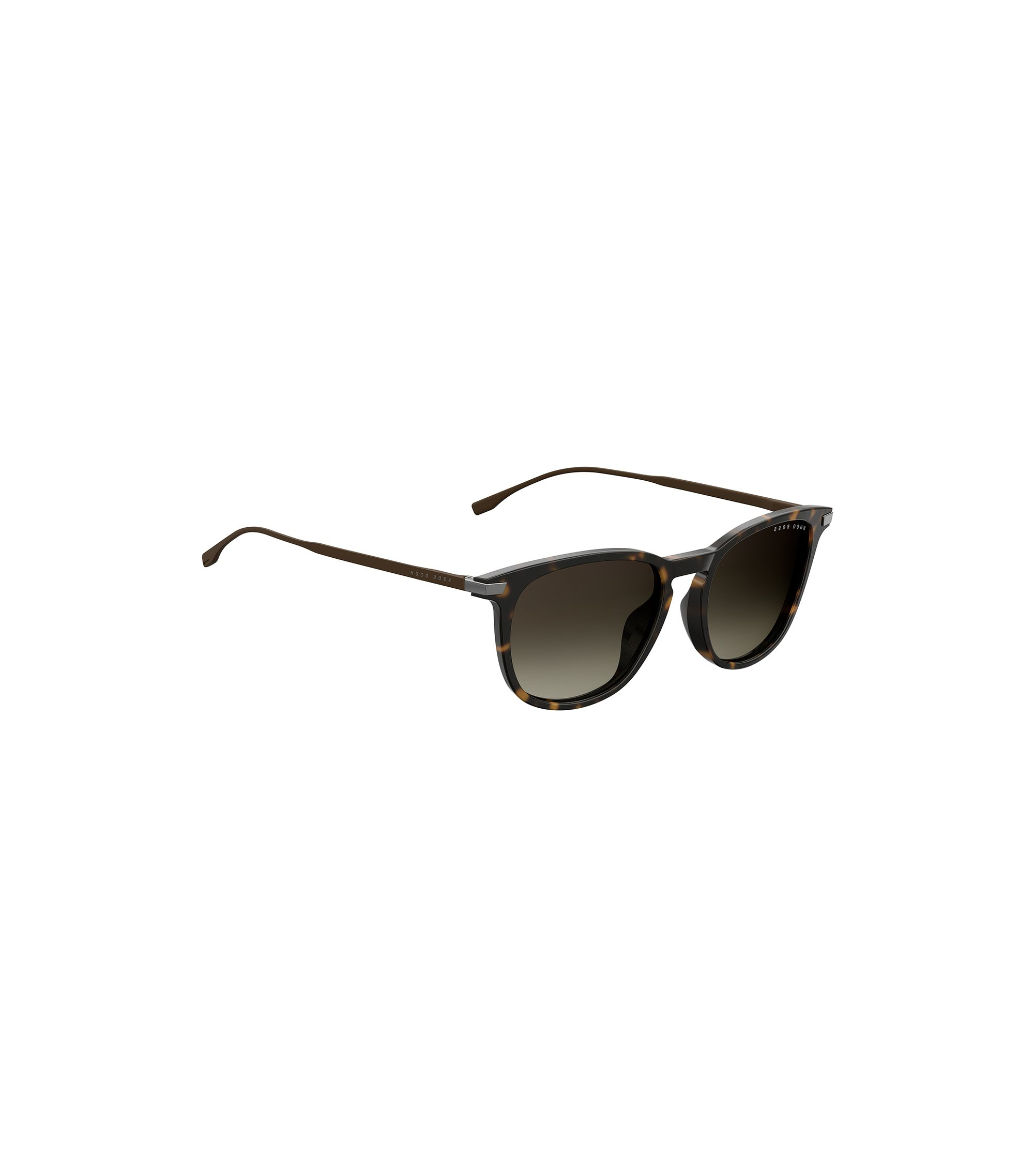 Havana-pattern sunglasses with lightweight metal temples, Dark Brown