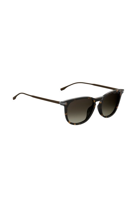 Sonnenbrille mit Havanna-Muster und Metallbügeln, Dunkelbraun