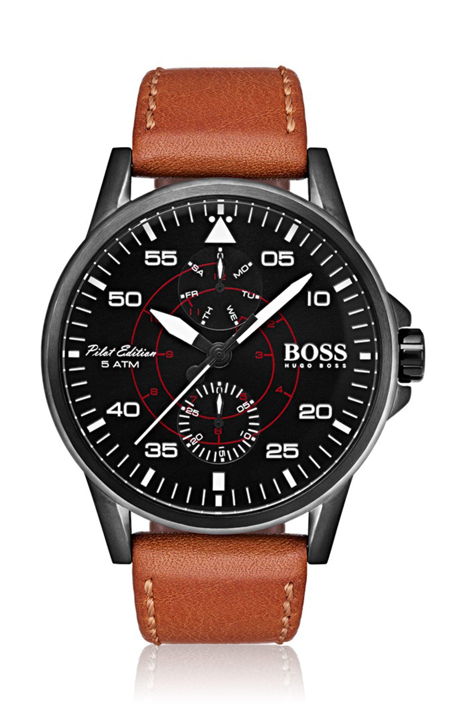 Uhr aus beschichtetem Edelstahl mit Armband aus Vachetteleder