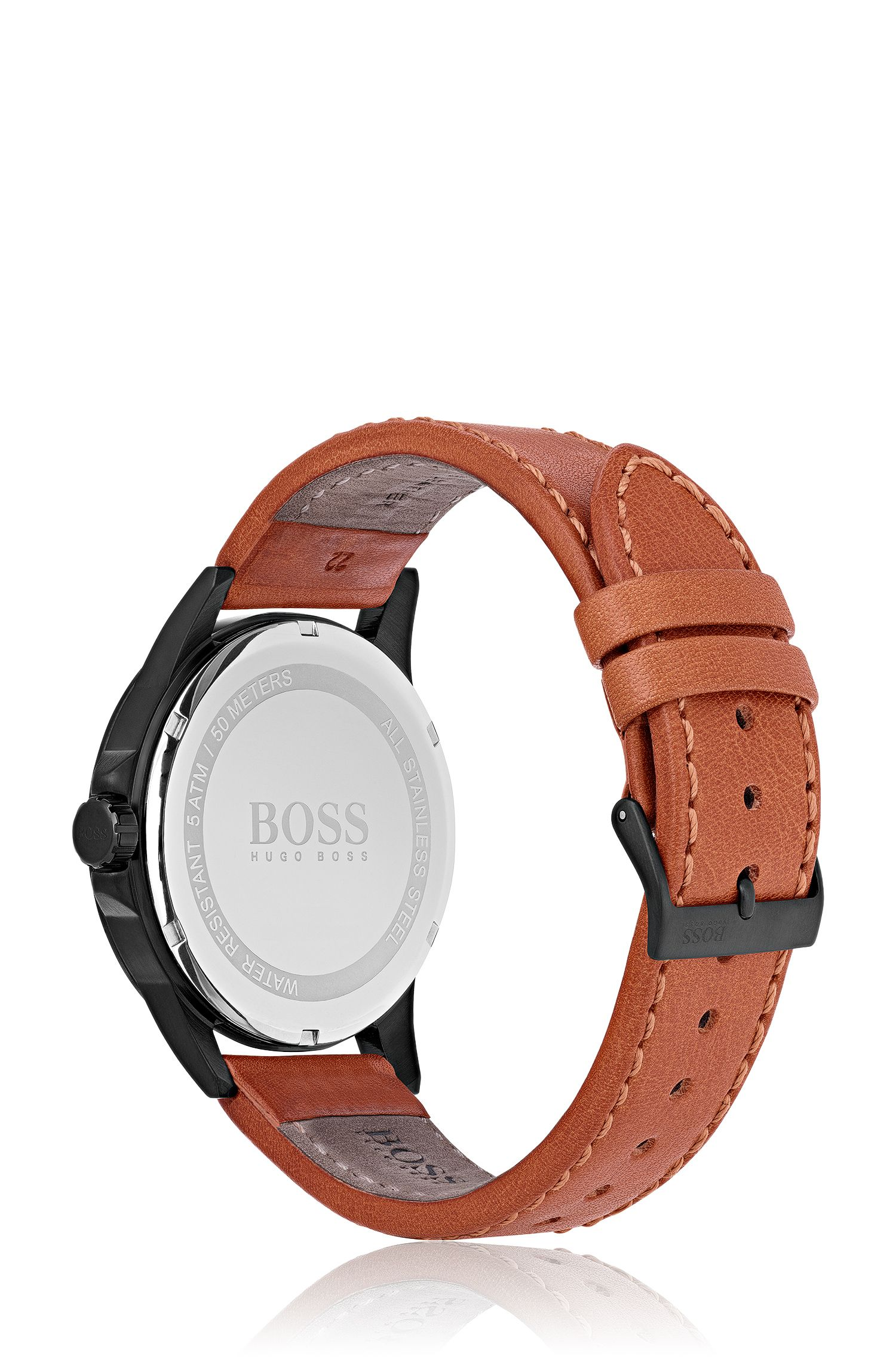 Black-plated watch with vachetta leather strap