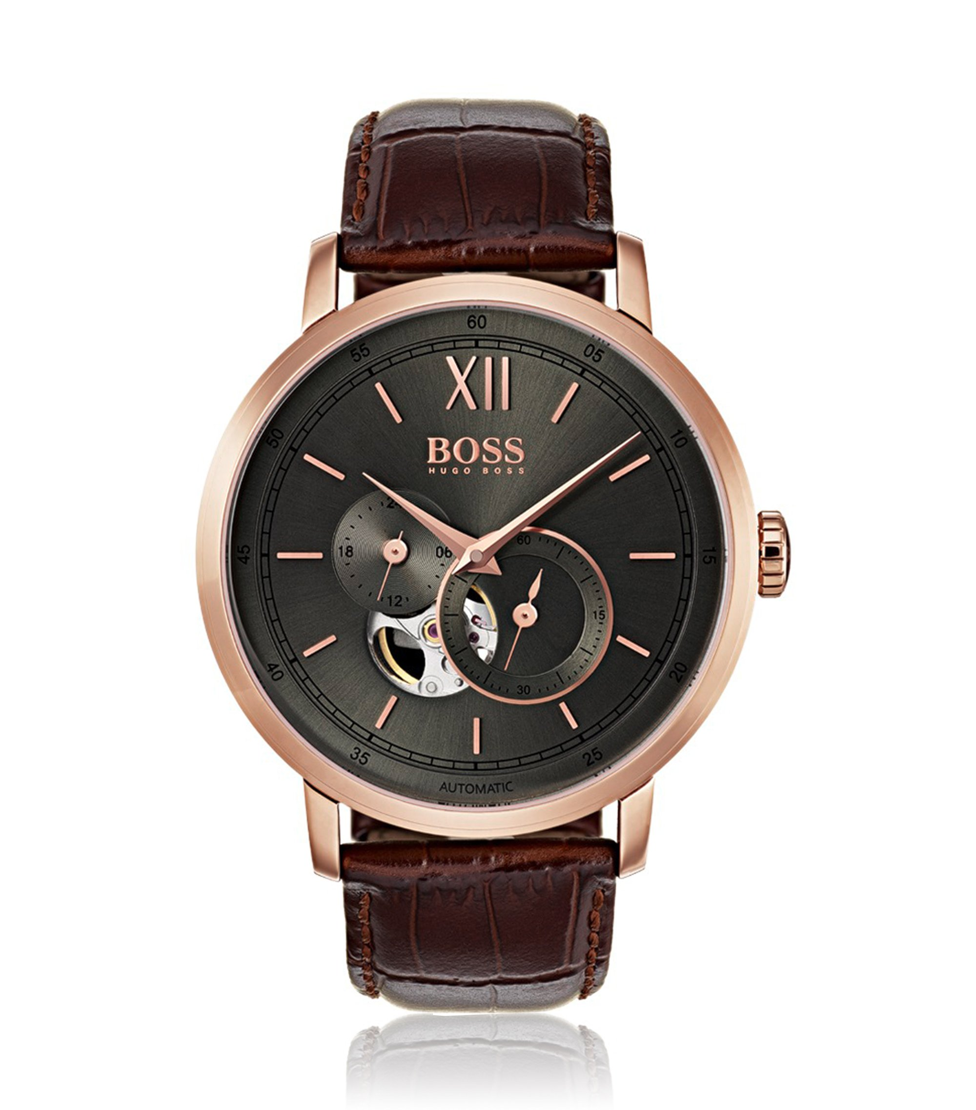 Rose-gold-plated watch with visible mechanics, Dark Brown
