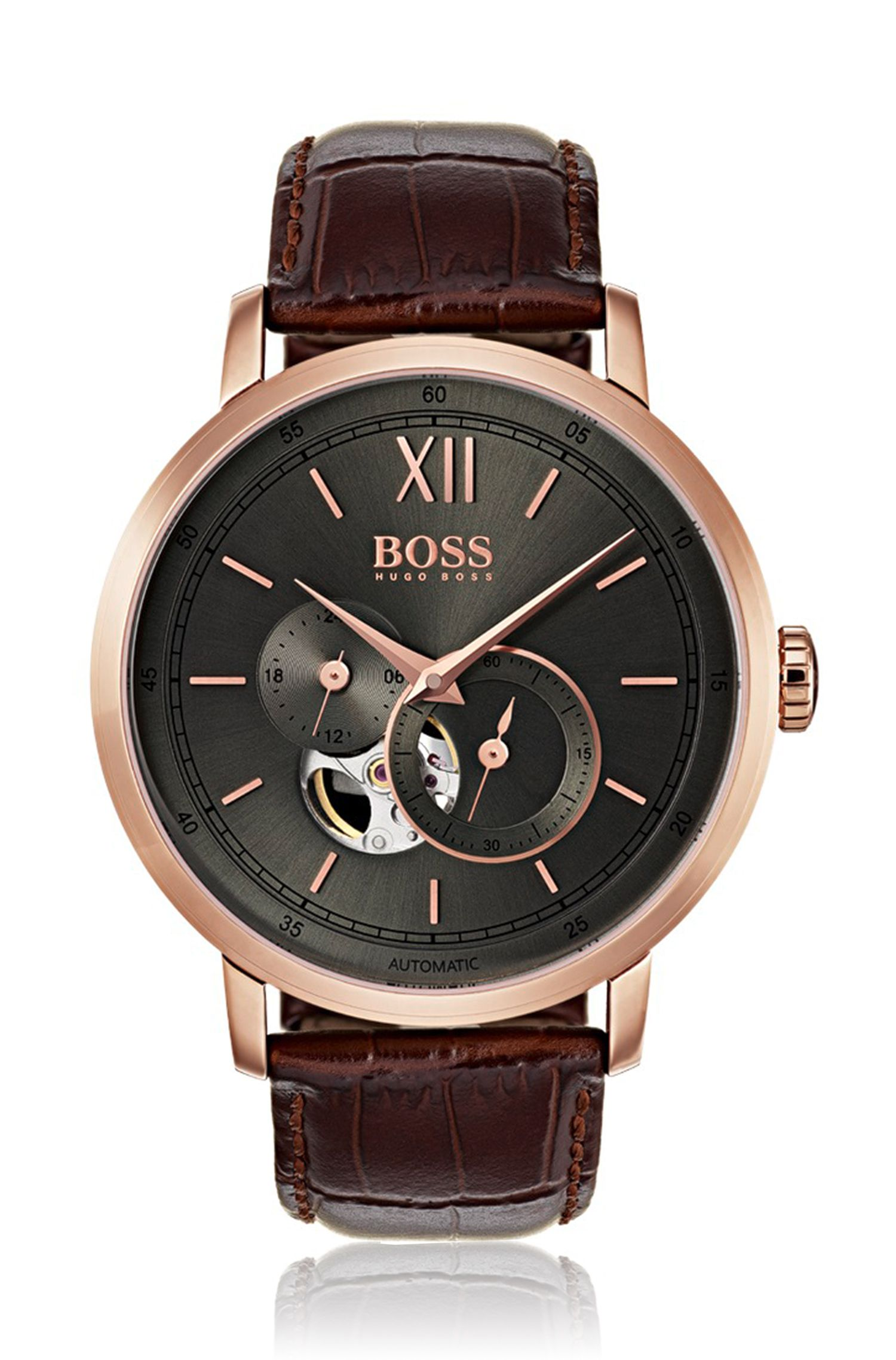 Rose-gold-plated watch with visible mechanics