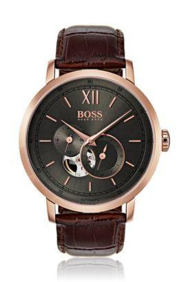 Roségoudkleurig gecoat horloge met zichtbaar mechaniek, Assorted-Pre-Pack