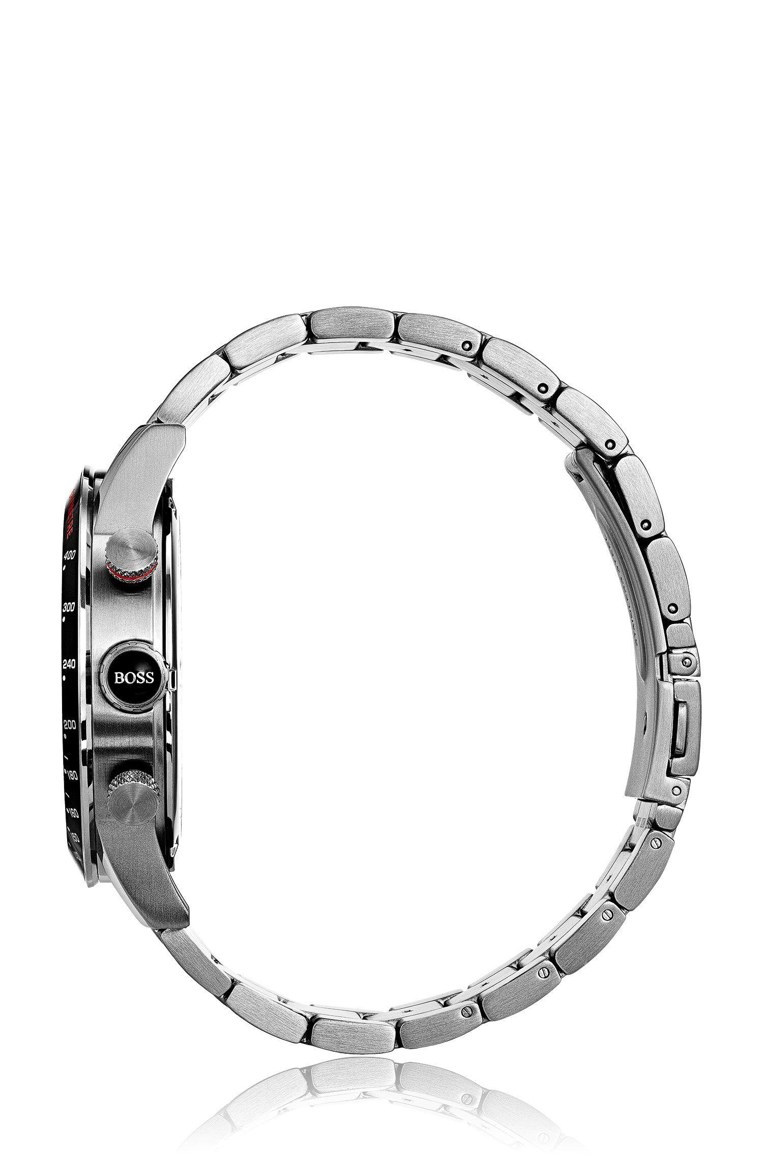 Orologio sportivo in acciaio inox lucido e spazzolato con quadrante nero, Assorted-Pre-Pack