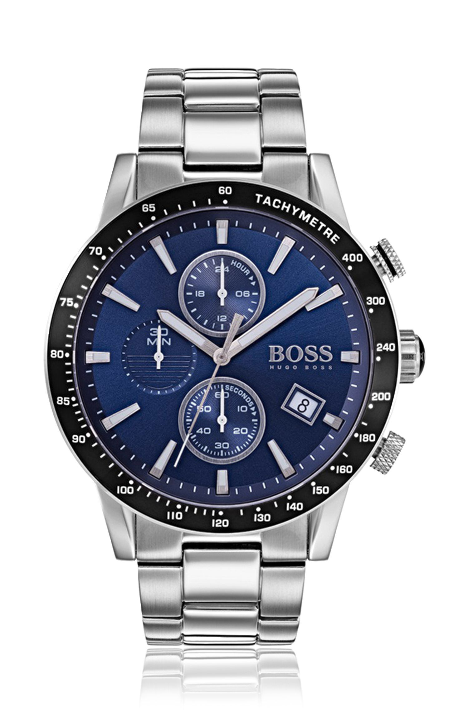 Stainless-steel sports watch with blue dial and link bracelet, Silver