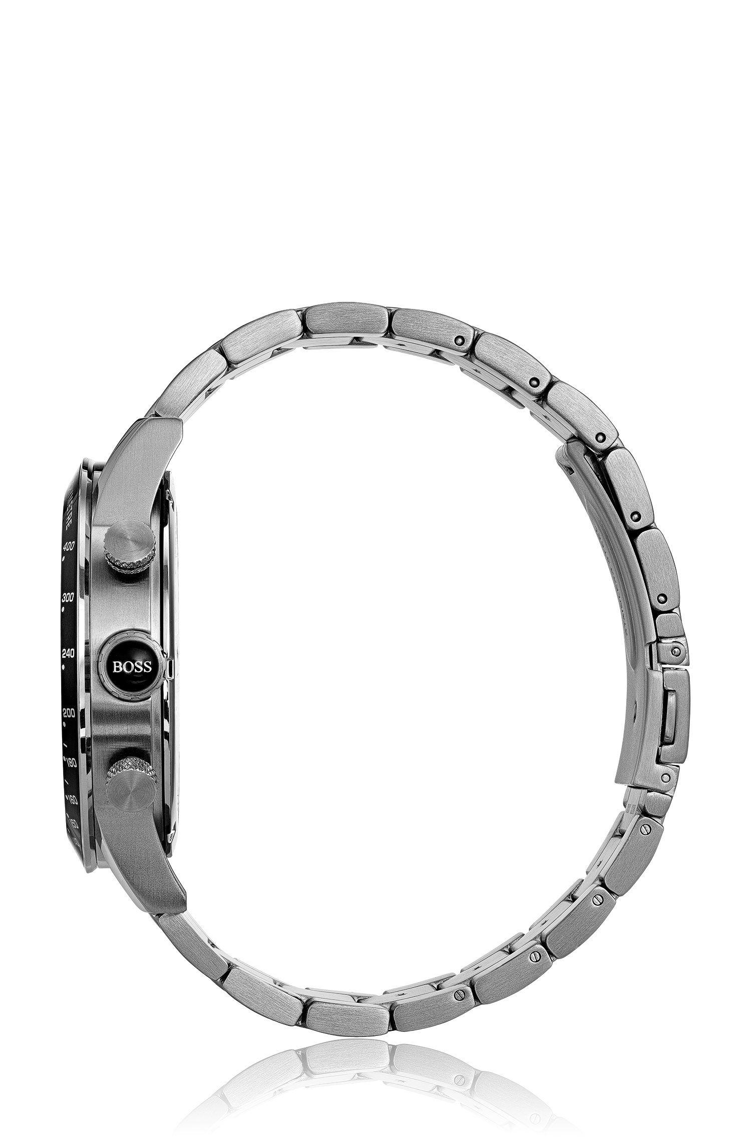 Sportuhr aus Edelstahl mit Gliederarmband, Silber