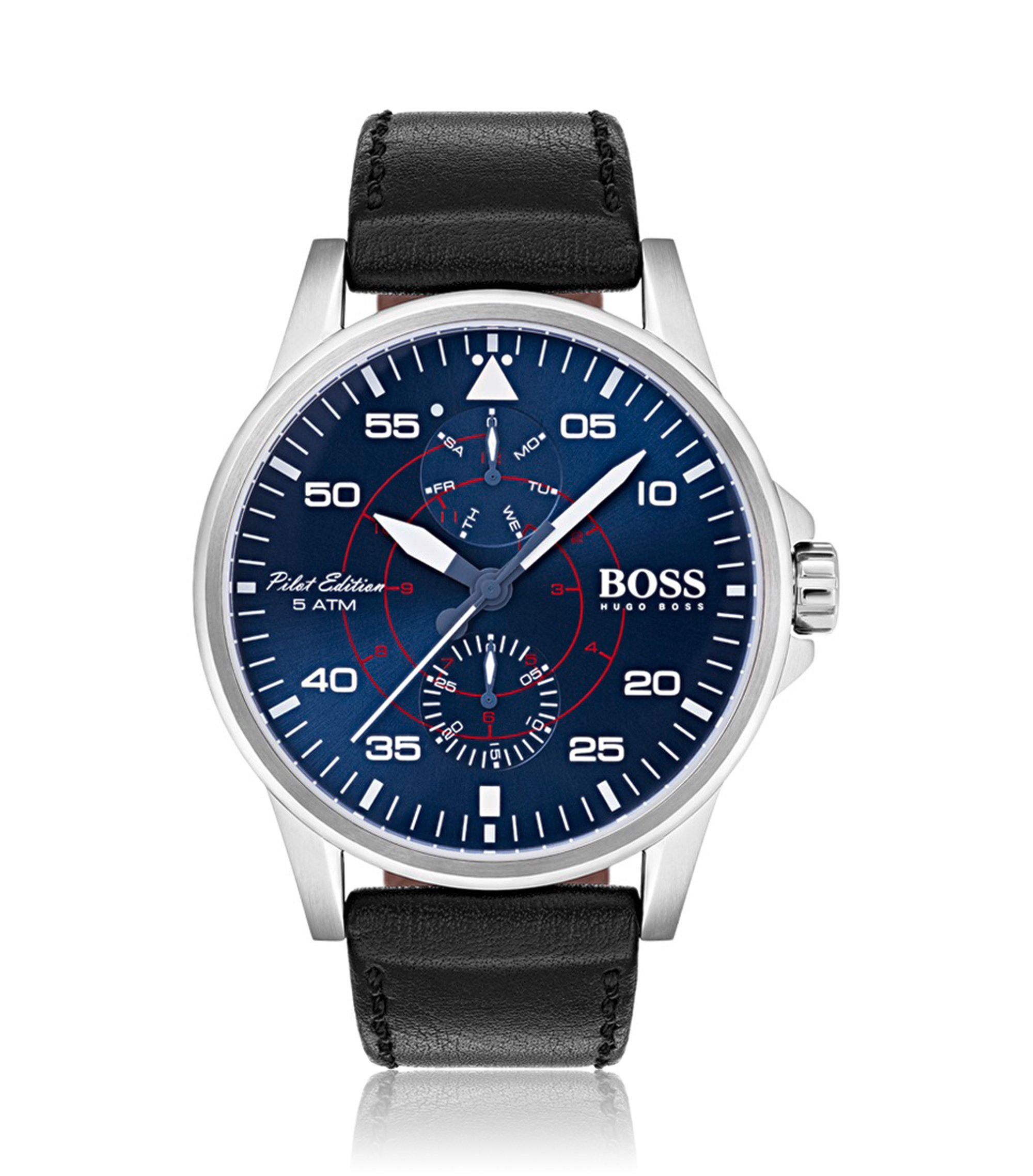 Pilot edition watch with blue dial and vachetta leather strap, Assorted-Pre-Pack