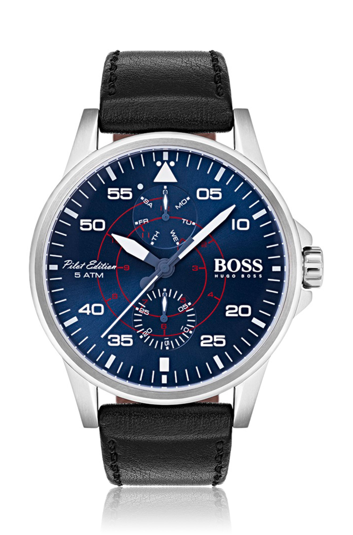 Pilot edition watch with blue dial and vachetta leather strap