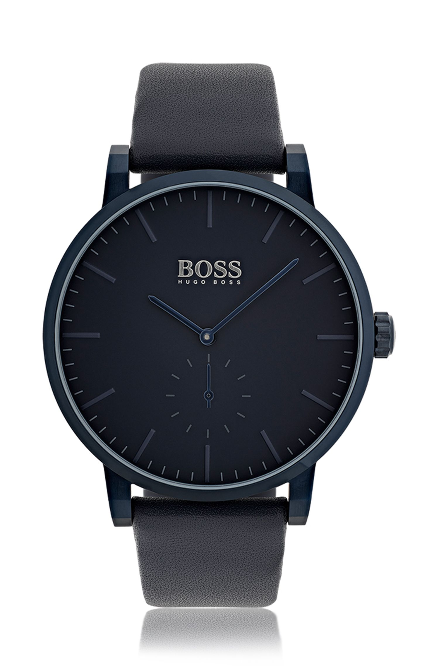 Plated stainless-steel watch with matt-blue dial and leather strap