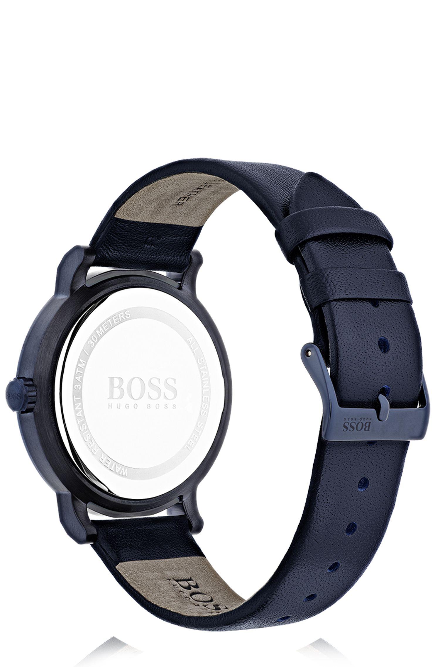 Montre en acier inoxydable plaqué, à cadran bleu mat et bracelet en cuir, Bleu foncé