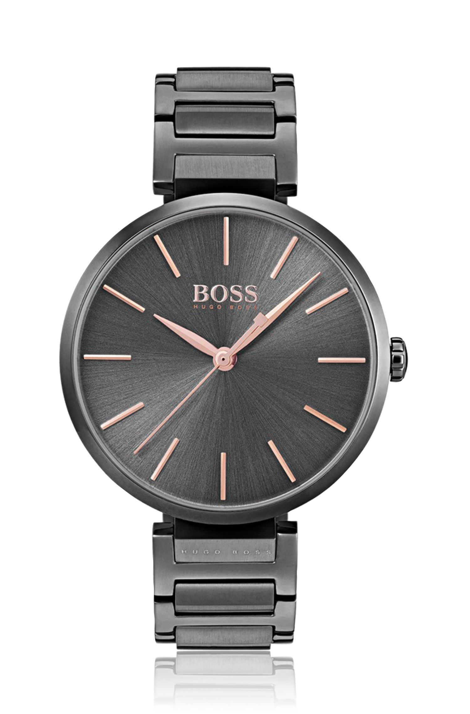 Anthracite-plated watch with rose-gold details