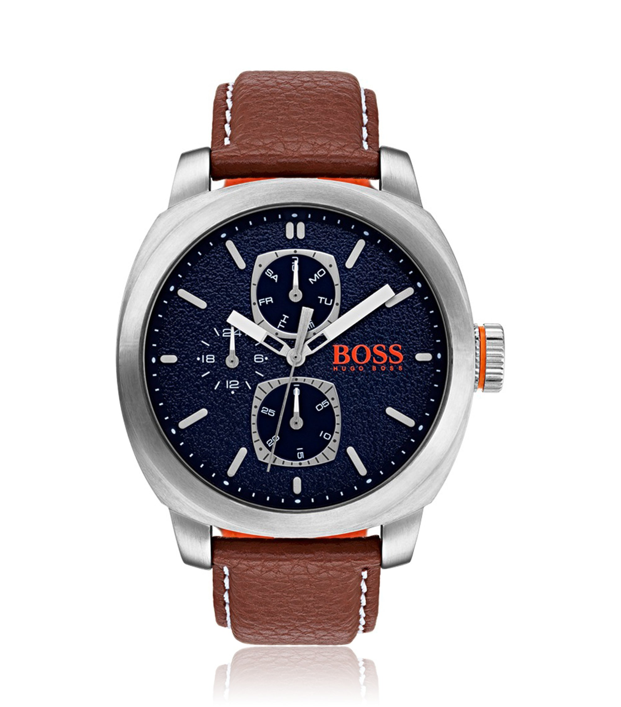 Montre à cadran bleu texturé et bracelet en cuir, Assorted-Pre-Pack