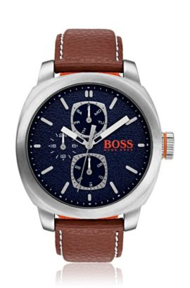 Leather-strap watch with textured blue dial, Assorted-Pre-Pack