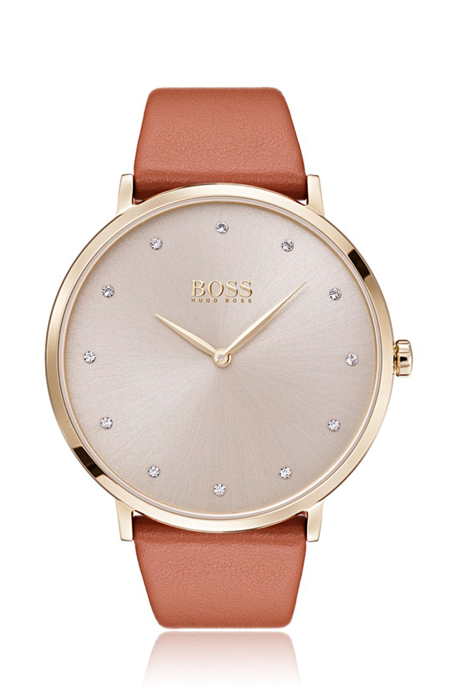 Slimline watch with sunray dial and brown leather strap