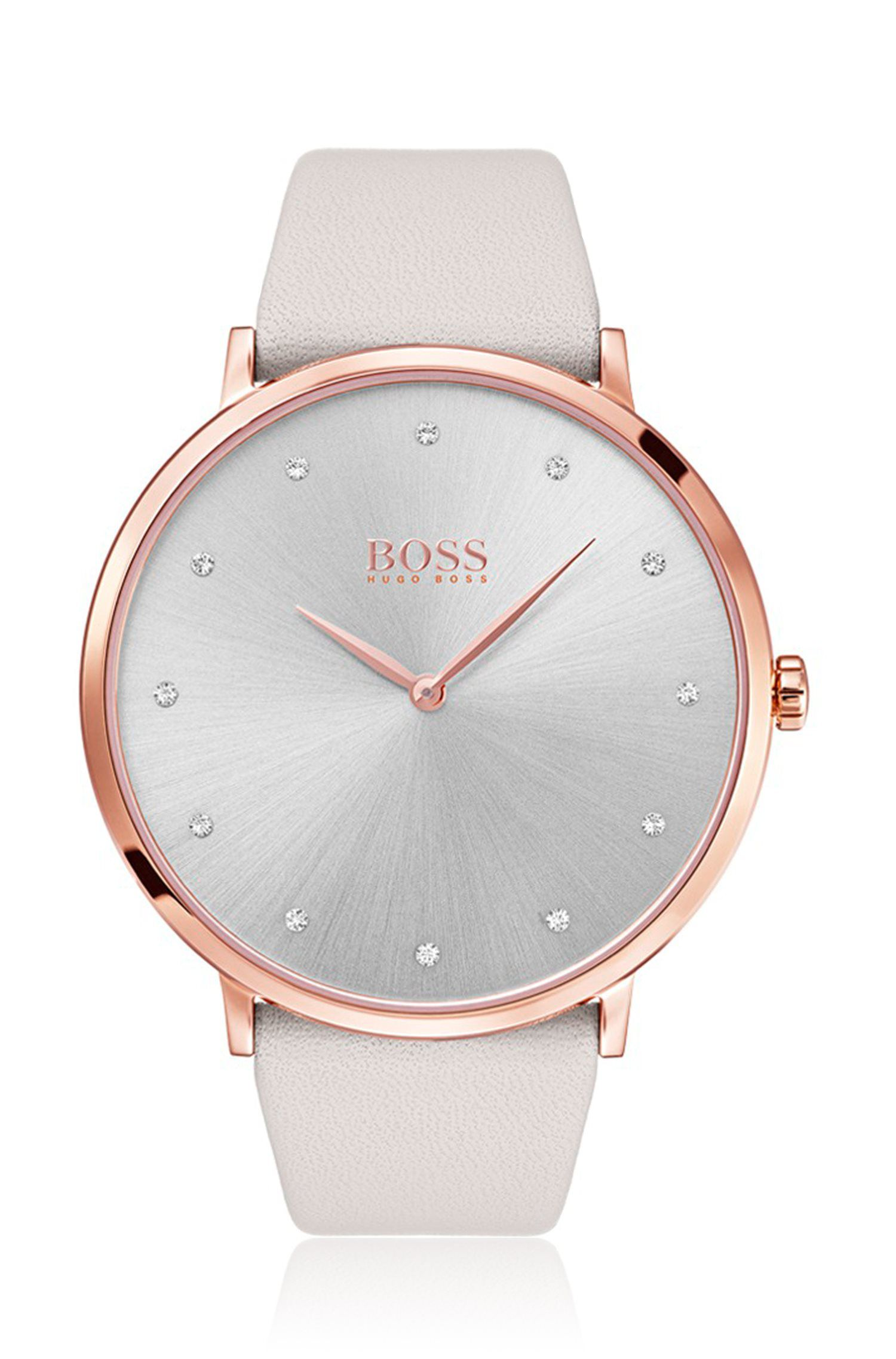 Slimline watch with dark pearl dial and leather strap, Natural