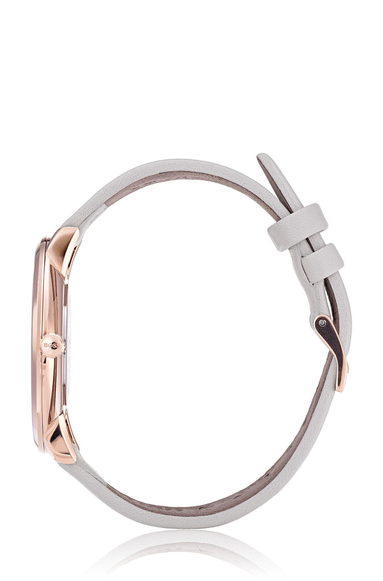 Montre slim à cadran nacré foncé et bracelet en cuir, Chair