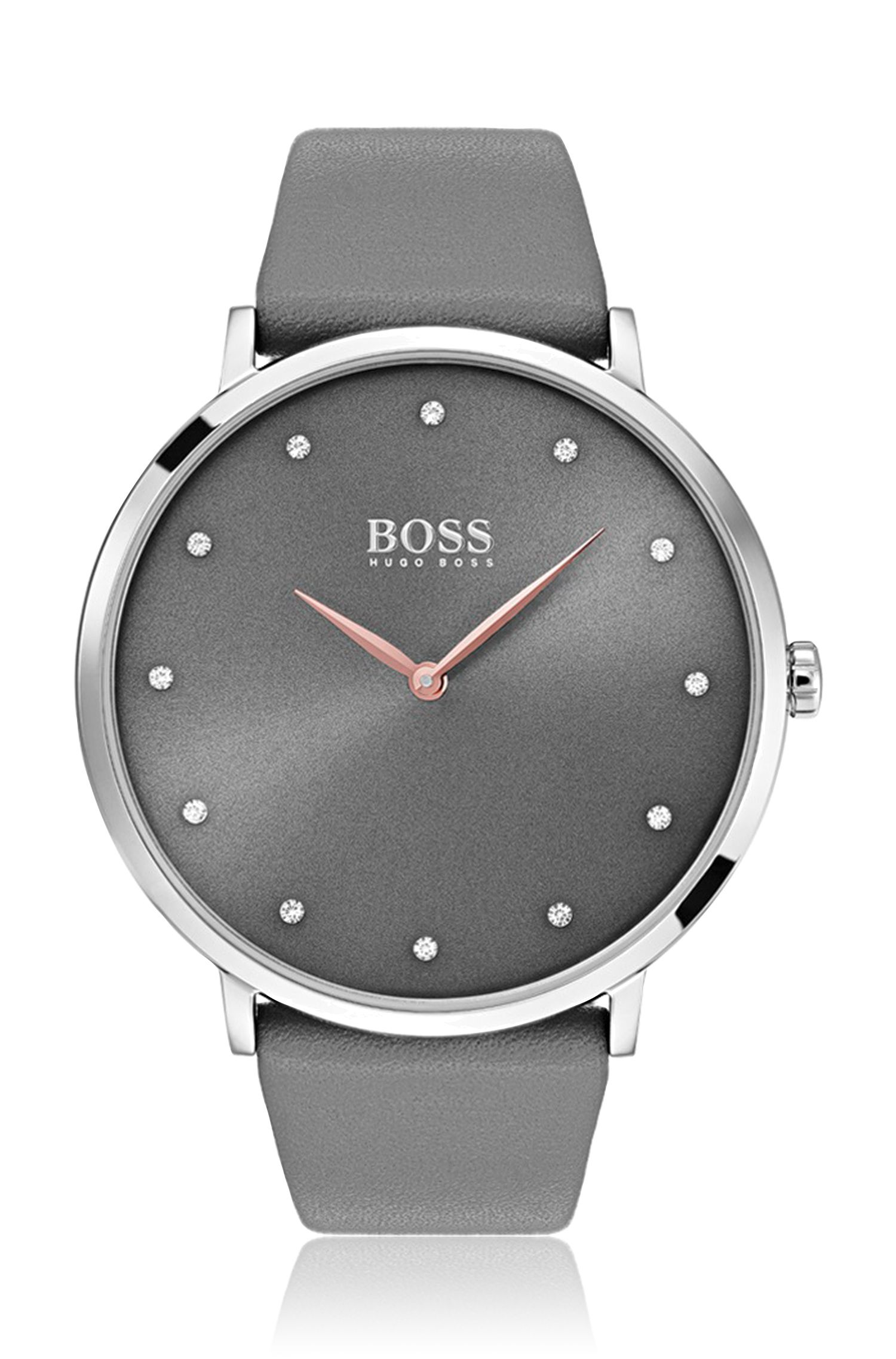Slimline watch with dark grey dial and leather strap