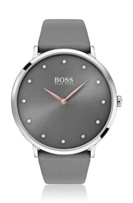 Slimline watch with dark grey dial and leather strap, Assorted-Pre-Pack