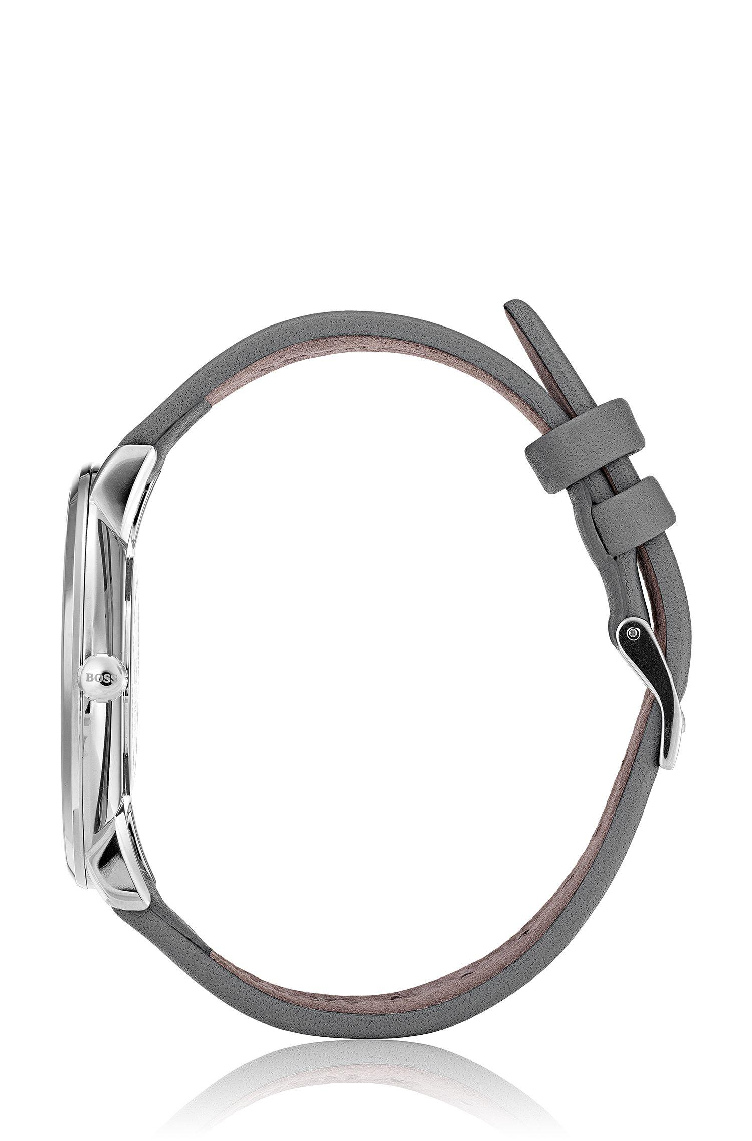 Slank horloge met donkergrijze wijzerplaat en polsband van leer, Assorted-Pre-Pack
