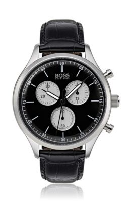 Stainless-steel watch with black leather strap, Black