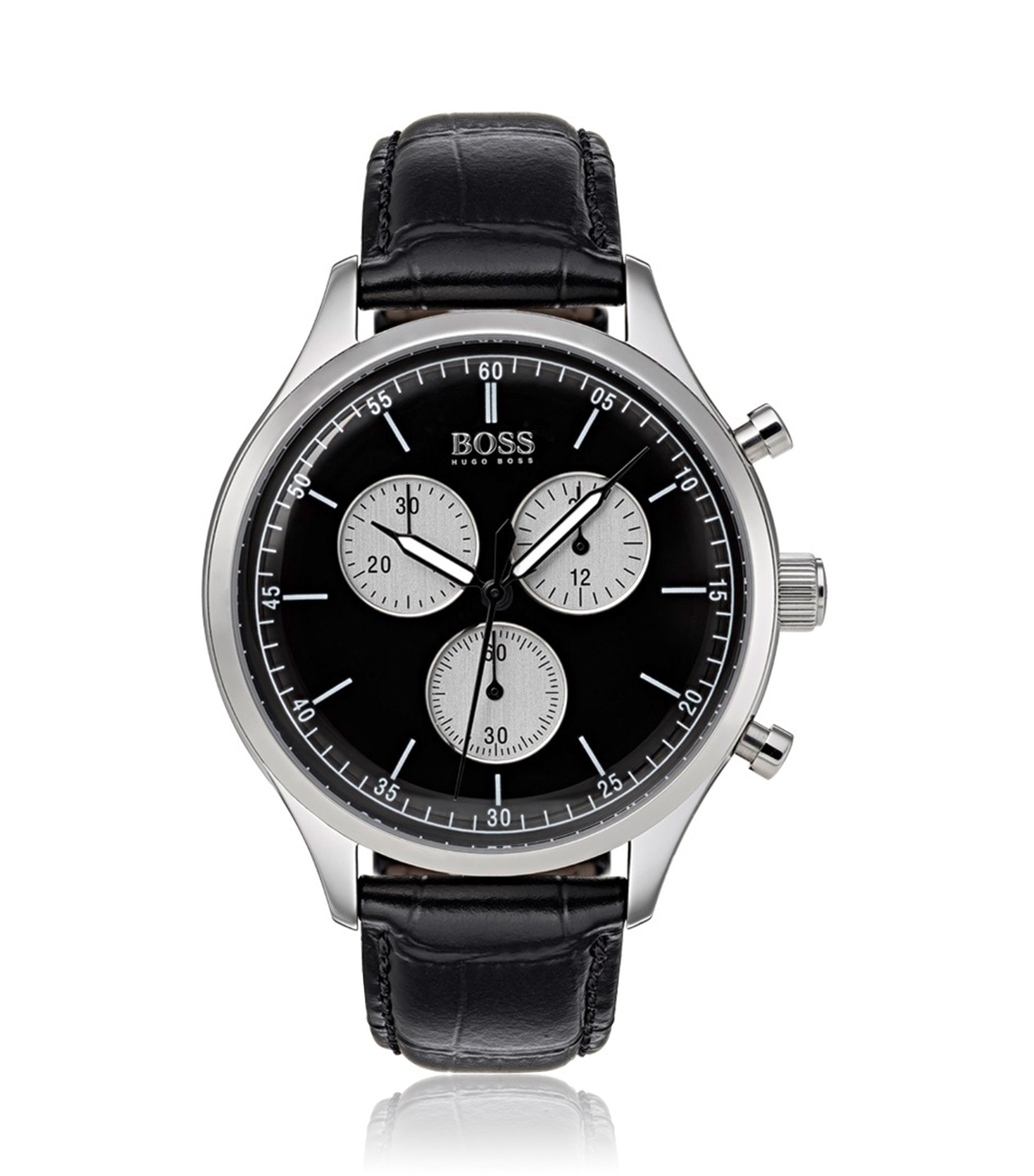 Stainless-steel watch with black leather strap, Assorted-Pre-Pack