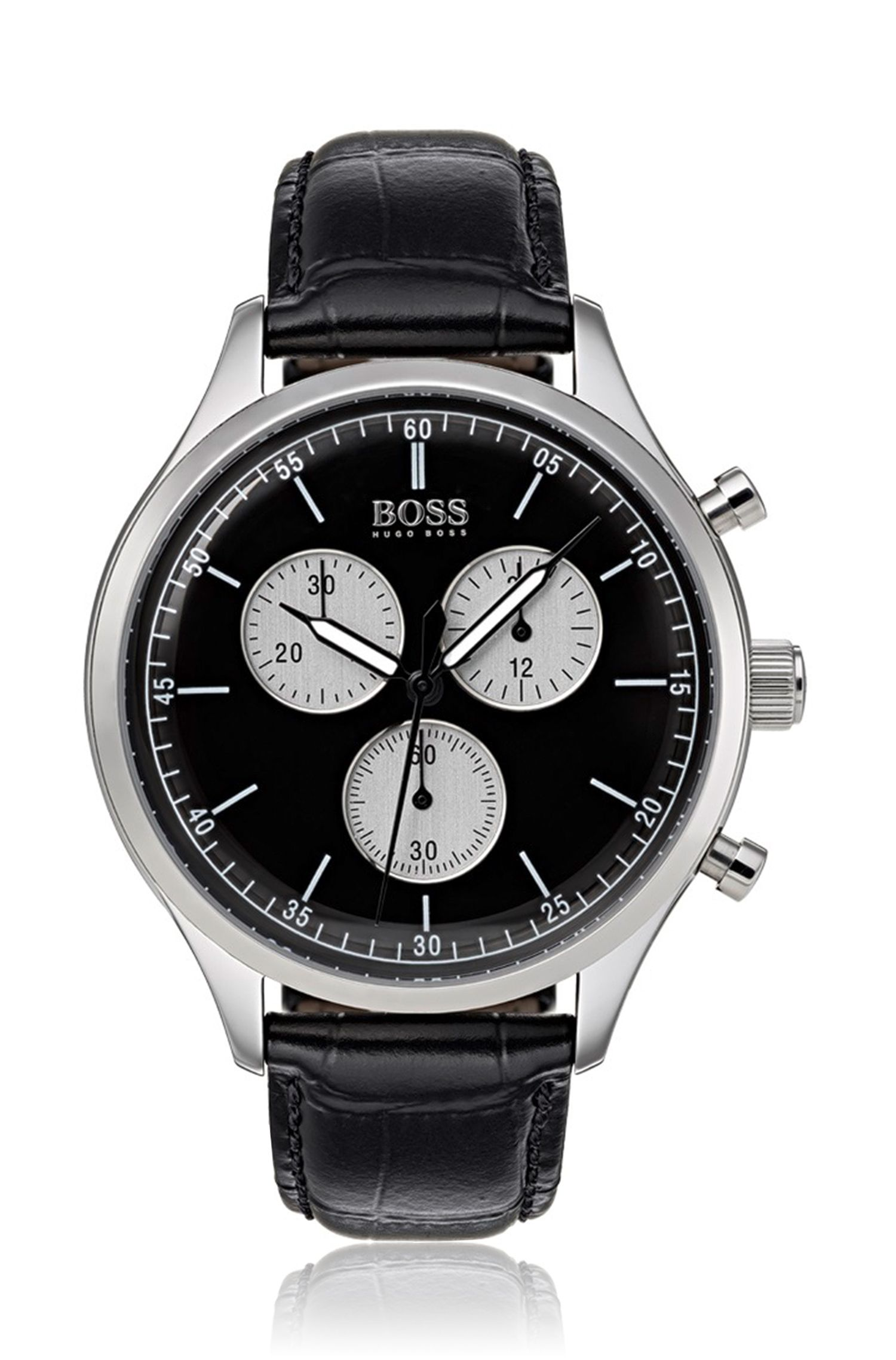 Stainless-steel watch with black leather strap