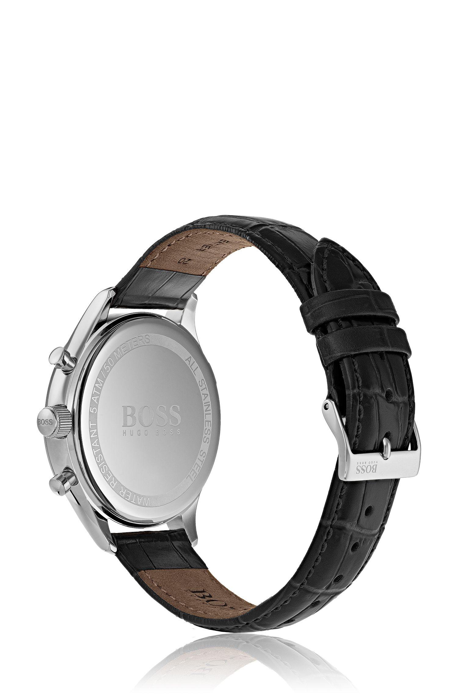 Montre en acier inoxydable avec bracelet en cuir noir