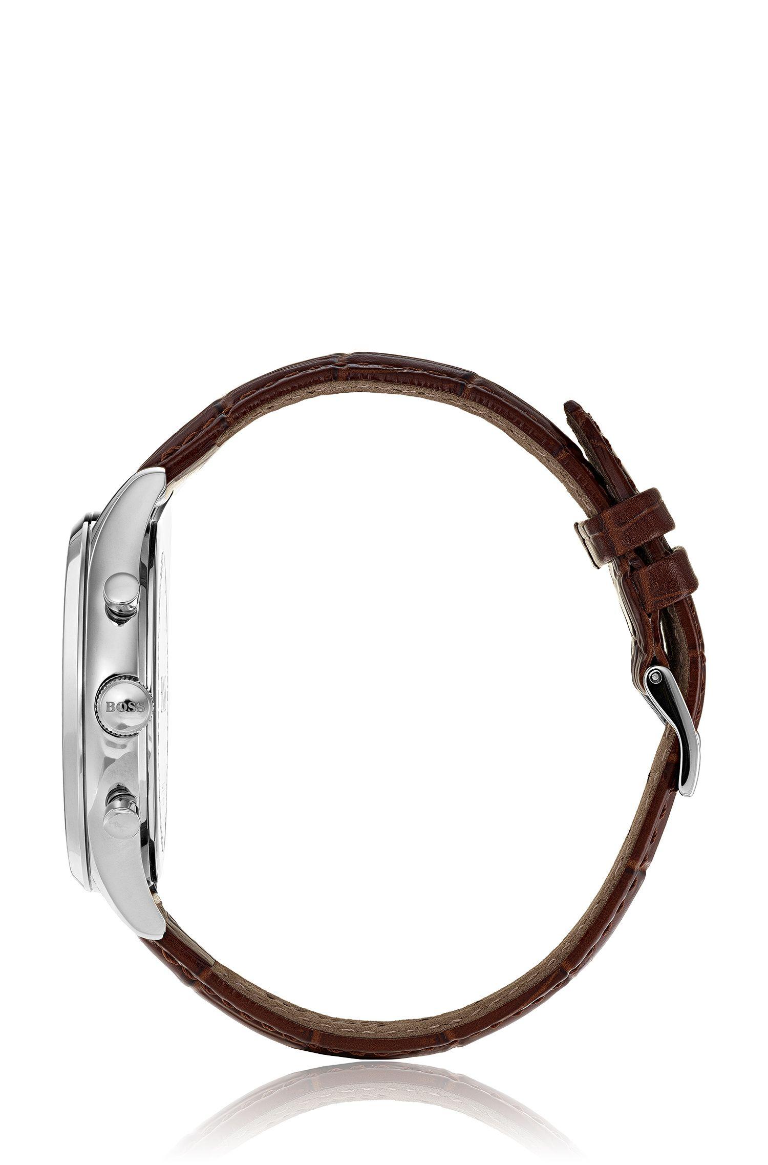 Montre chronographe à aiguilles luminescentes, avec bracelet en cuir