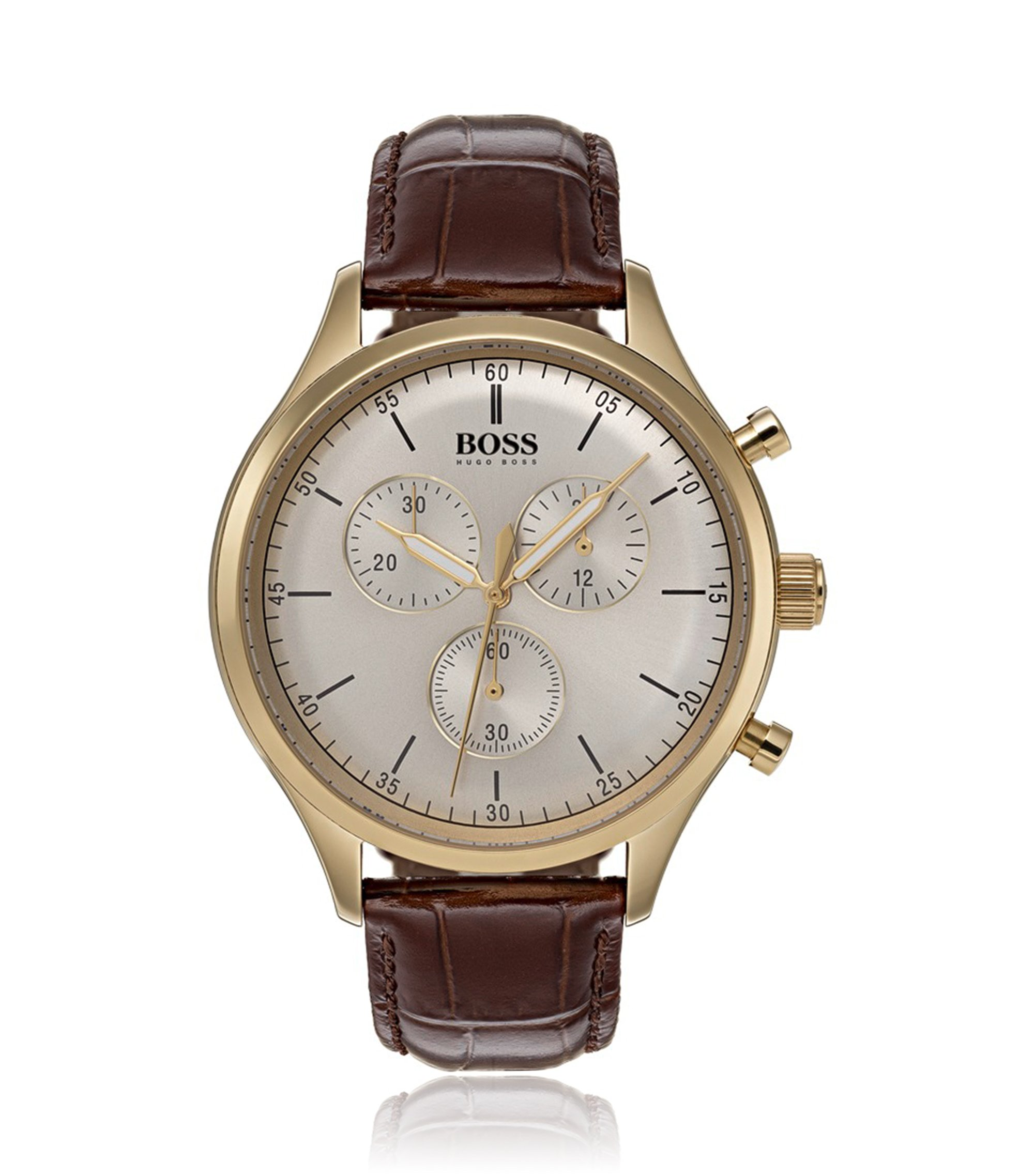 Gold-plated watch with leather strap, Assorted-Pre-Pack