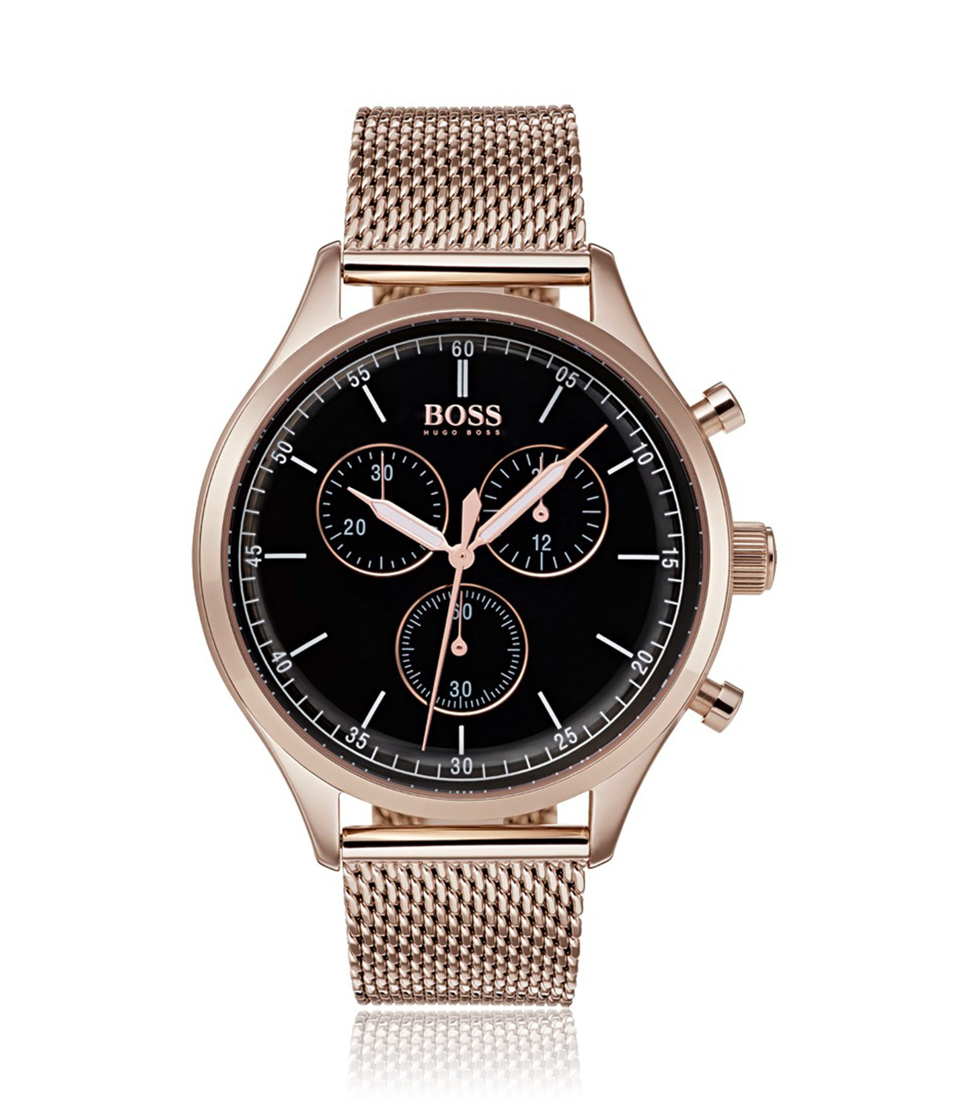 Rose-gold-plated watch with mesh bracelet, Assorted-Pre-Pack