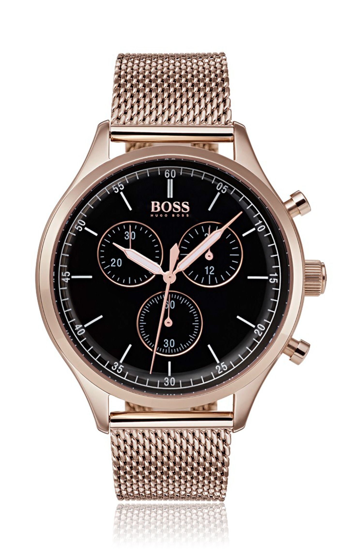 Rose-gold-plated watch with mesh bracelet